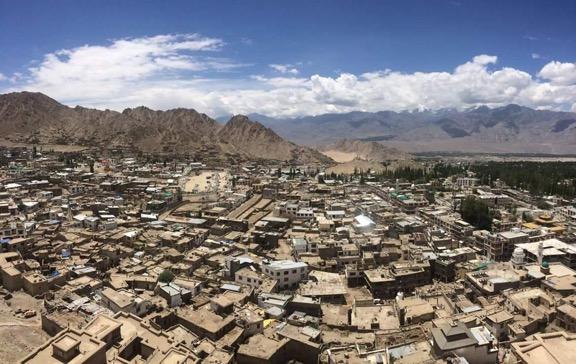 A panoramic vista of Leh