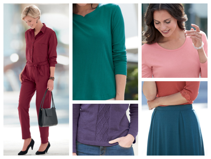 clothes for women in rich warm colours