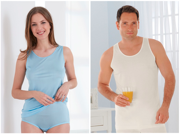 Natural underwear vests for men and women