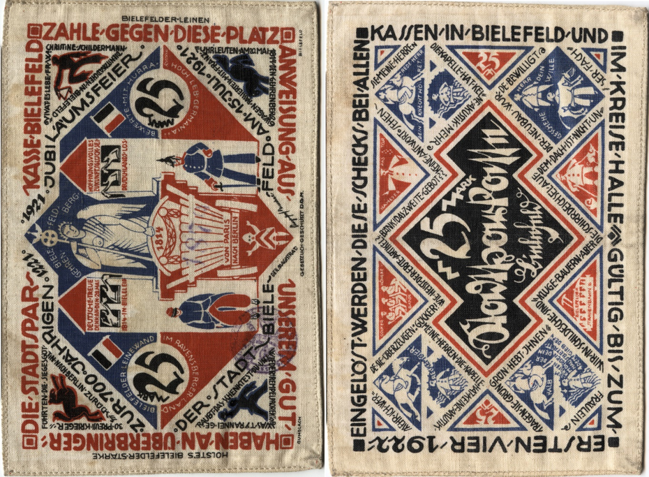 Silk German banknotes