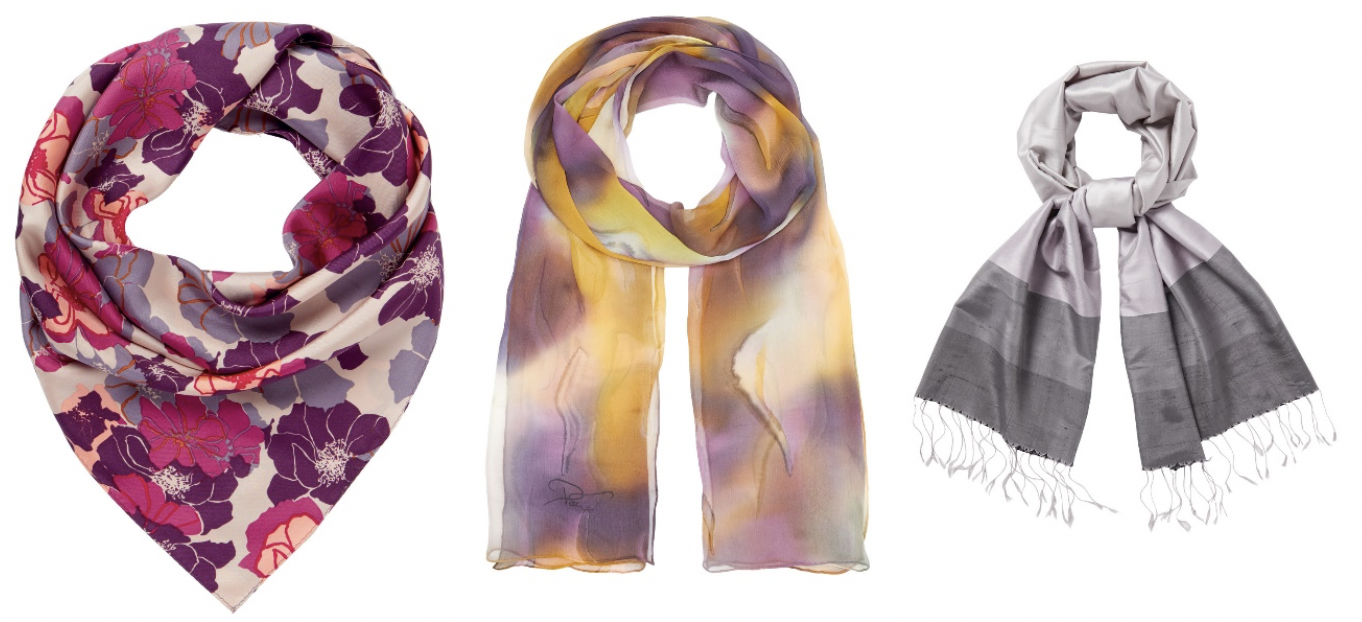 Accessorise with silk scarves